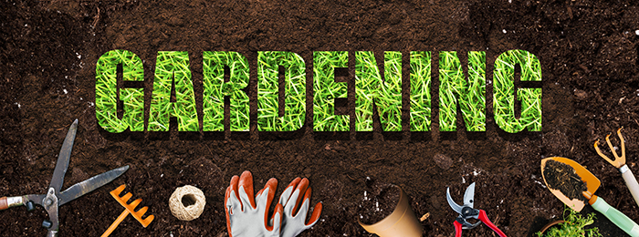 Gardening words on brown soil
