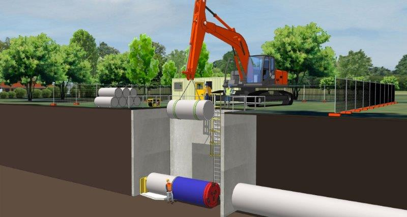 Artists impression of Tunnel Borer in launching shaft and sewerage pipes being lowered into position