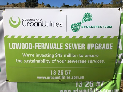 Construction site sign at Lowood-Fernvale Sewer Upgrade