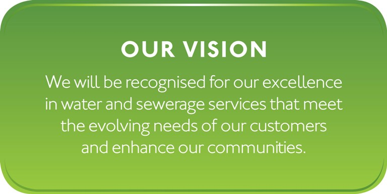 Our vision: We will be recognised for our excellence in water and sewerage services that meet the evolving needs of our customers and enhance our communities