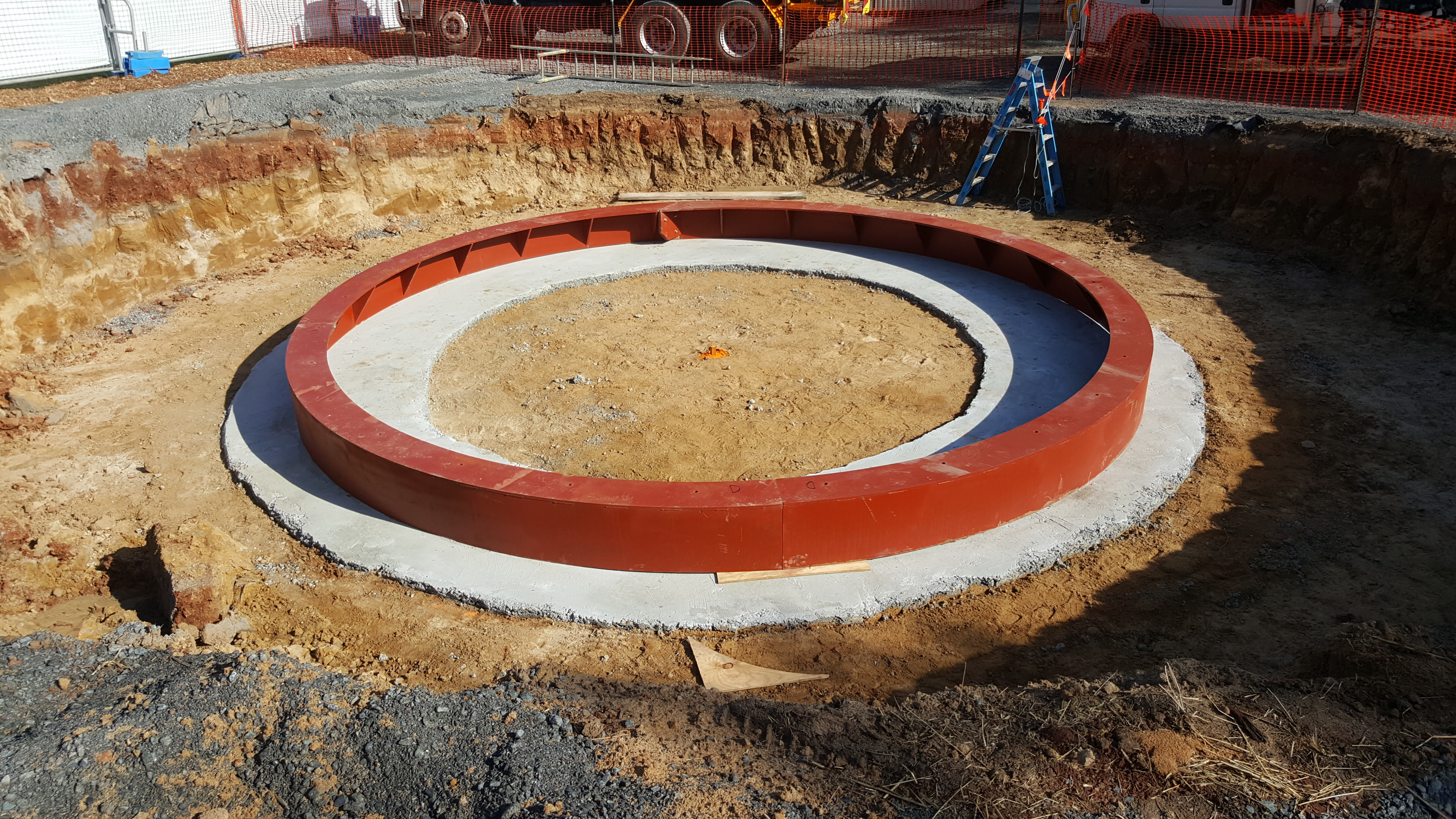 Tunnell Boring Machine exit shaft colar in place in preparation for shaft construction