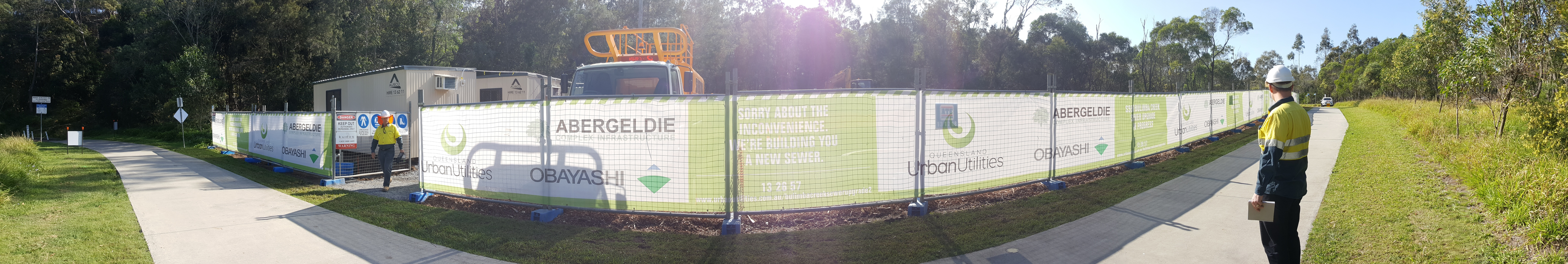 Edwards Reserve construction site panoramic from the bikeway/footpath