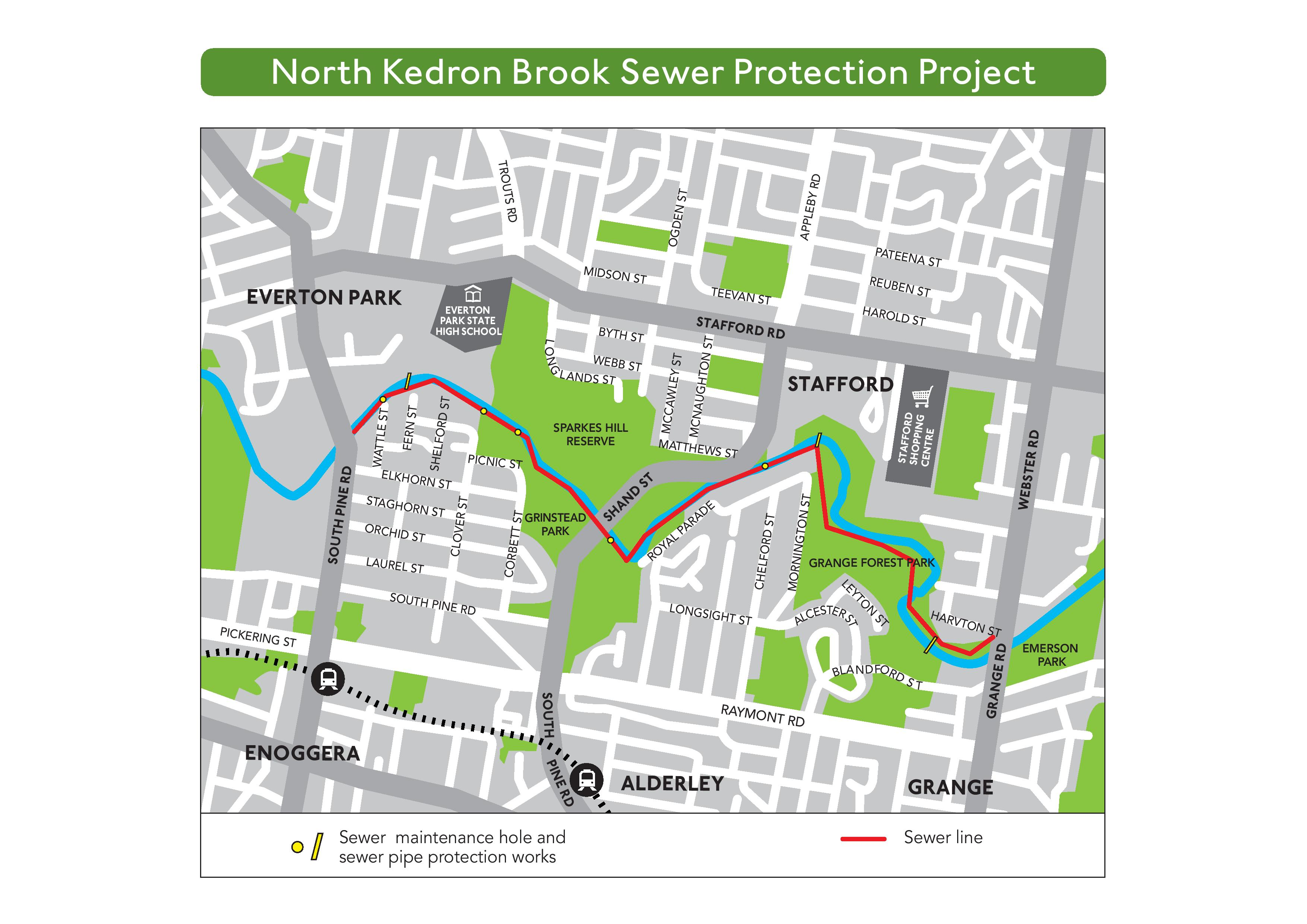 A map showing project work locations for the North Kedron Brook Sewer Protection Project